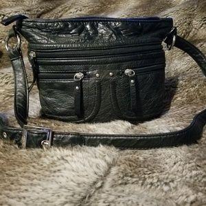 Stone & Co Black Leather Crossbody Purse Bag